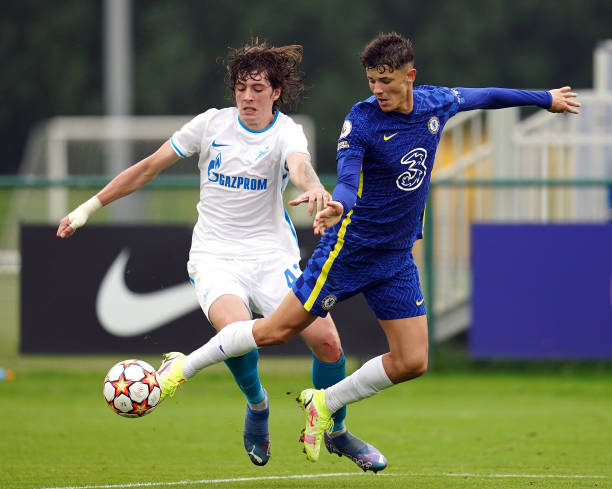Zenit St. Petersburg's Artem Kasimov fouls Chelsea's Jude Soonsup-Bell which results in a penalty kick during the UEFA Youth League, group H match at...