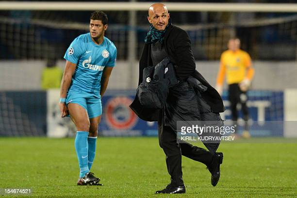 FC Zenit St Petersburg's head coach Luciano Spalletti and player Hulk react during UEFA Champions League group C football match between FC Zenit St...