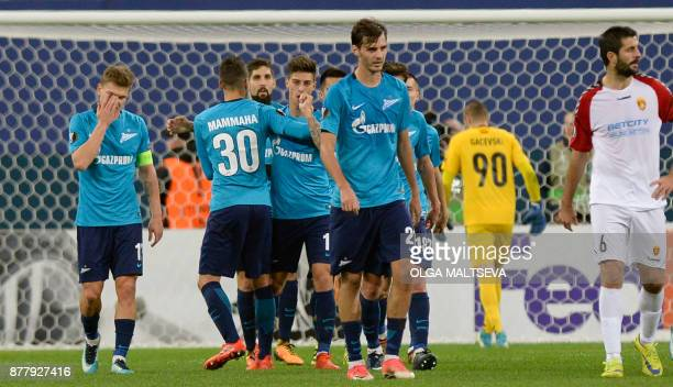 Zenit St Petersburg's midfielder from Argentina Emiliano Rigoni celebrates after scoring the team's second goal during the UEFA Europa League Group L...