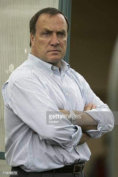 Zenit St. Petersburg's new Dutch coach, Dick Advocaat, attends the Russian Premier League match against Moskva Moscow on July 12, 2006 in Moscow,...