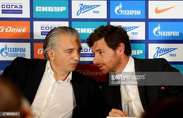 FC Zenit St Petersburg's President Alexander Dyukov and Zenit's new head coach Andre VillasBoas speak as they attend a press conference in St...