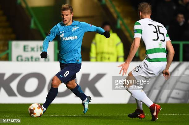 Zenit St Petersburg's Russian forward Aleksandr Kokorin vies with Celtic's Norwegian midfielder Kristoffer Ajer during the UEFA Europa League...