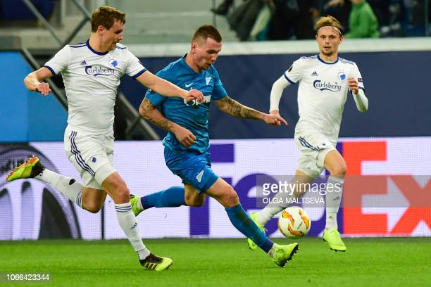 Zenit St Petersburg's Russian forward Anton Zabolotny in action during the UEFA Europa League group C football match between FC Zenit and FC...