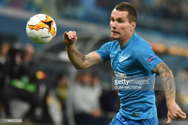 Zenit St Petersburg's Russian forward Anton Zabolotny in action during the UEFA Europa League round of 32 second leg football match between FC Zenit...