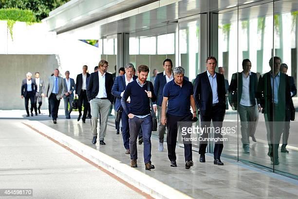 Zenith Coach Andre VillasBoas FC Shakhtar Donetsk Coach Mircea Lucescu and Paris St Germain FC Coach Laurent Blanc arrive for the UEFA Elite Club...