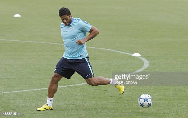 Zenit's Brazilian forward Hulk takes part in a trainning session at the Mestalla Stadium in Valencia on September 15 on the eve of the UEFA Champions...