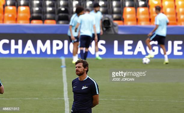 Zenit's coach Andre VillasBoas takes part in a trainning session at the Mestalla Stadium in Valencia on September 15 on the eve of the UEFA Champions...