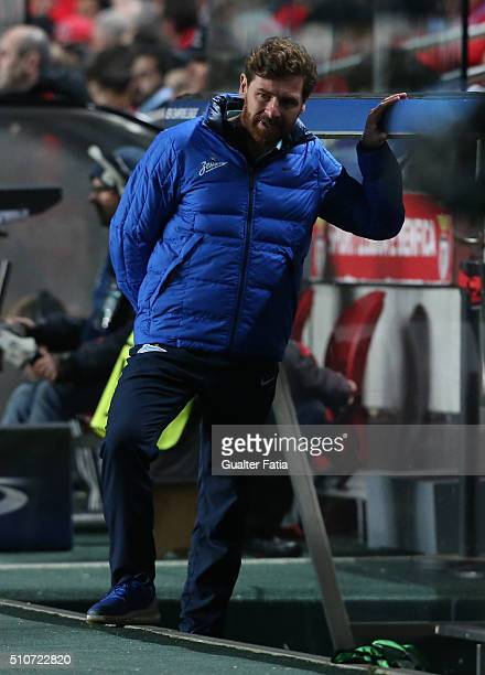 ZenitÕs coach from Portugal Andre Villas Boas in action during the UEFA Champions League Round of 16 First Leg match between SL Benfica and FC Zenit...
