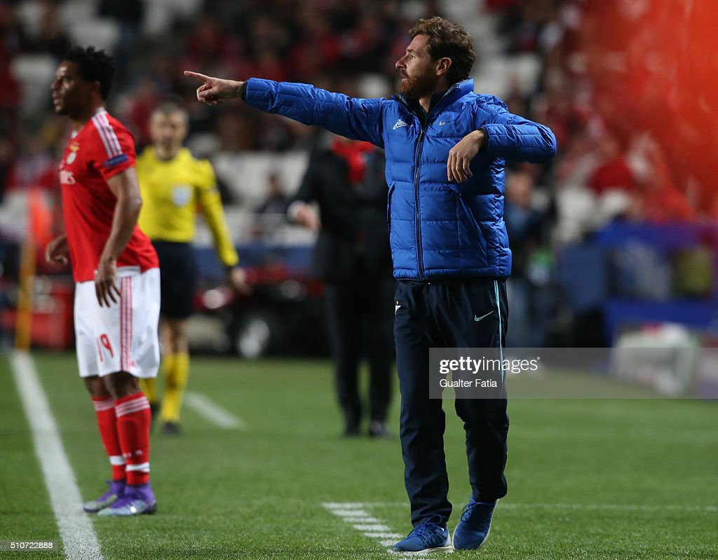 FC ZenitÕs coach from Portugal Andre Villas Boas in action during the UEFA Champions League Round of 16: First Leg match between SL Benfica and FC Zenit at Estadio da Luz on February 16, 2016 in Lisbon, Portugal.