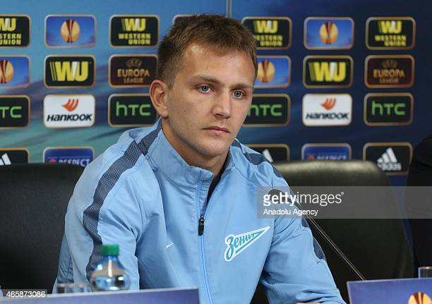 Zenit's defender Domenico Criscito attends the Zenit St Petersburg UEFA Europa League Press Conference at Stadion Petrovski on March 11 2015 in Saint...