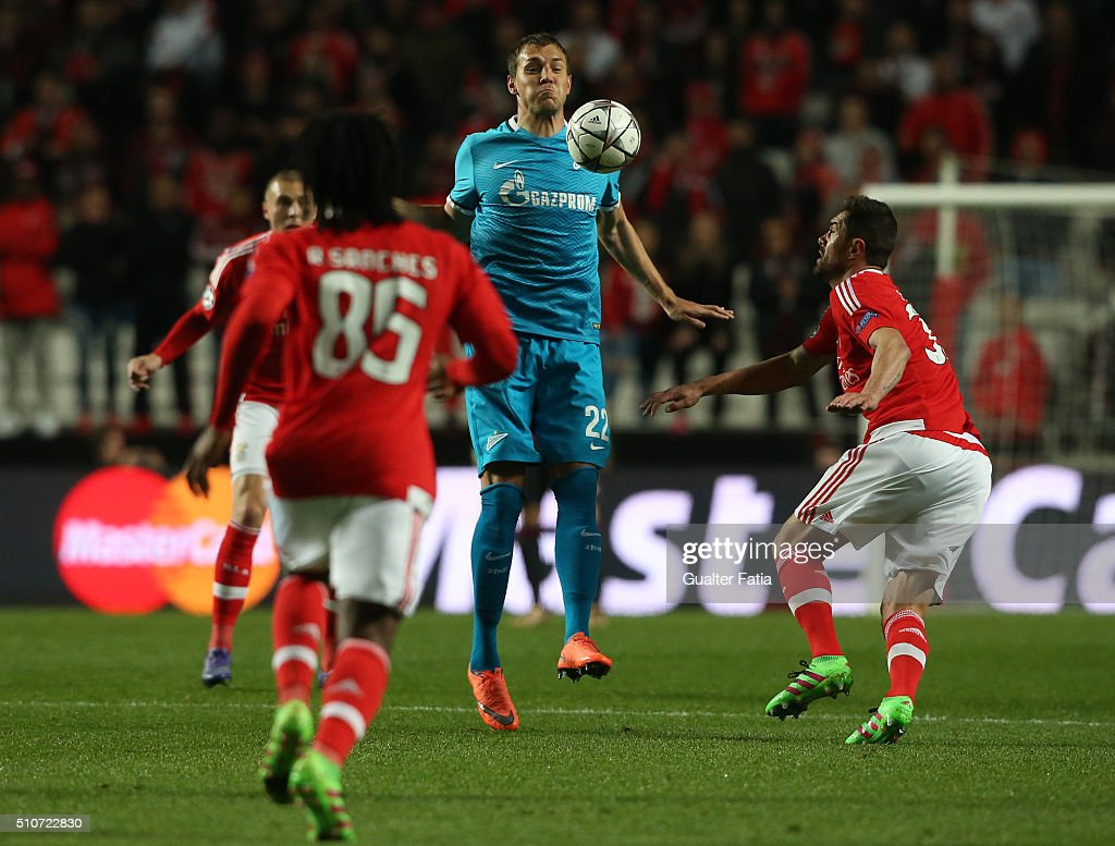 FC ZenitÕs forward Artem Dzyuba in action during the UEFA Champions League Round of 16: First Leg match between SL Benfica and FC Zenit at Estadio da Luz on February 16, 2016 in Lisbon, Portugal.