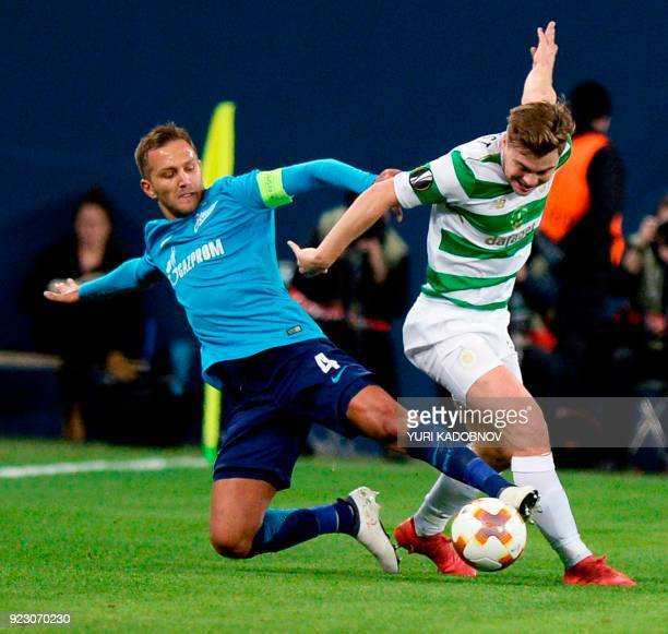 Zenit's Italian defender Domenico Criscito vies with Celtic's Scottish midfielder Callum McGregor during the UEFA Europa League round of 32 second...