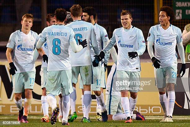 Zenit's players celebrate a goal during the UEFA Europa League group D football match between FC Zenit and Dundalk FC in Saint Petersburg on November...