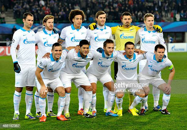 Zenit's players pose for a team picture prior to the UEFA Champions League group G football match FK Austria Wien vs FC Zenit in Vienna, Austria, on...