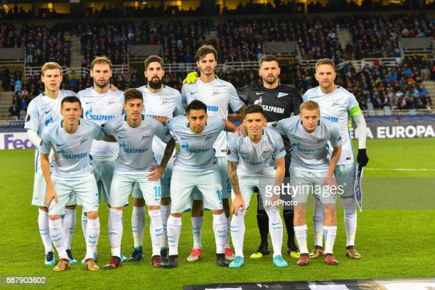 Zenit´s teammate pose for the media before the UEFA Europa League Group L football match between Real Sociedad and Zenit at the Anoeta Stadium on 7...