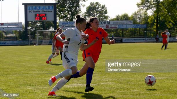 Zenna de Zwart of the Netherlands challenges Nicole Woldmann of Germany during the U15 girl's international friendly match between Germany and...