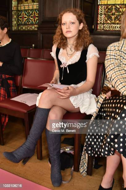 Zenobia VoegeleDowning attends the Ryan LO front row during London Fashion Week September 2018 at Stationers' Hall on September 14 2018 in London...