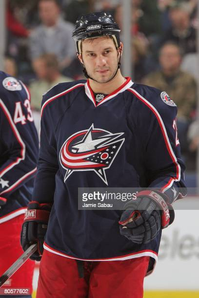 Zenon Konopka of the Columbus Blue Jackets get ready to take a face off against the St Louis Blues on April 6 2008 at Nationwide Arena in Columbus...