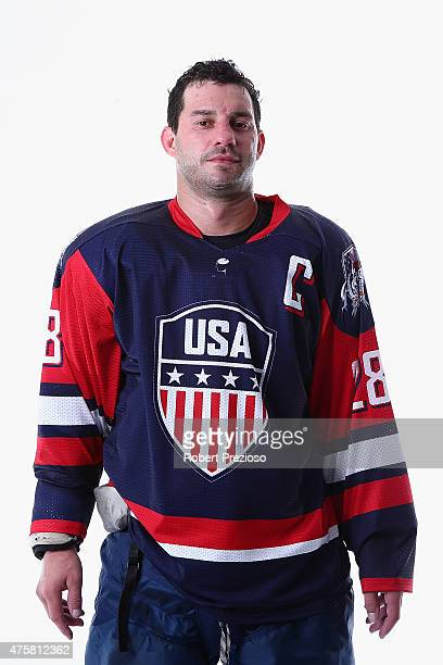 Zenon Konopka of USA poses for photos during the 2015 Ice Hockey Classic media opportunity at Rod Laver Arena on June 4 2015 in Melbourne Australia