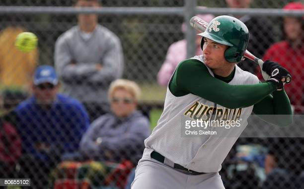 Zenon Winters of Australia bats during the ISF Men's Softball World Championships Oceania Qualifying Tournament Final between New Zealand and...