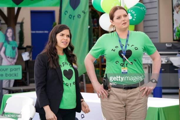 "Zephra Cares"" Episode 517 -- Pictured: America Ferrera as Amy, Lauren Ash as Dina --"