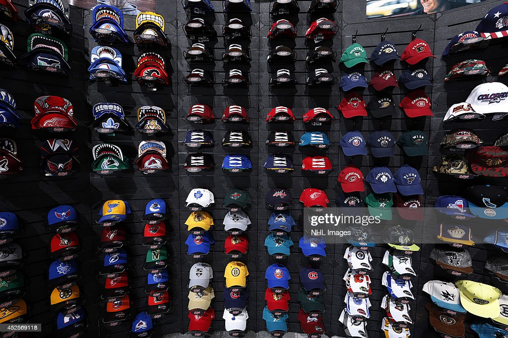 Zephyr shows off it's hats at the 2014 NHL Exchange at Pepsi Center on July 22, 2014, in Denver, Colorado.