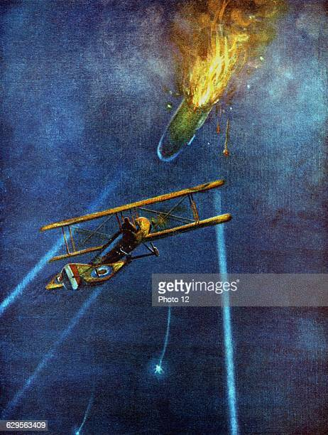 Zeppelin airship shot down at Cuffley near Enfield close to London by LieutWilliam Leefe Robinson of Royal Flying Corps during bombing raid on London...