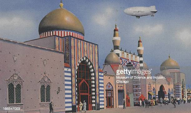 A zeppelin flies over the Eastern architecture in Oriental Village at the Century of Progress International Exposition in Chicago Illinois The...