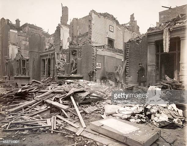 Zeppelin raid resulting in destruction of civilian housing in the south of England during World War One on 19th January 1915.