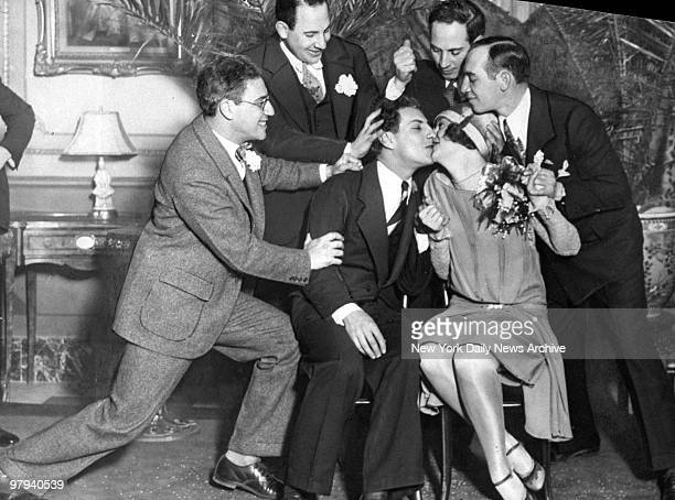 Zeppo Marx and his bride Marion Bender are surrounded by brothers Groucho Gummo Harpo and Chico after the wedding at the Hotel Chalfonte