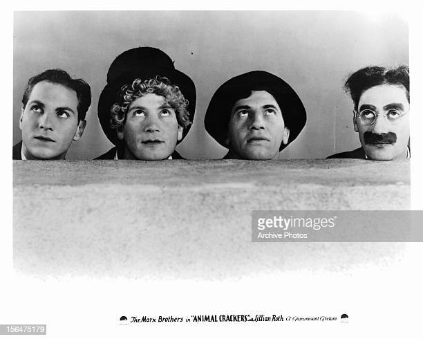 Zeppo Marx Harpo Marx Chico Marx and Groucho Marx publicity portrait for the film 'Animal Crackers' 1930