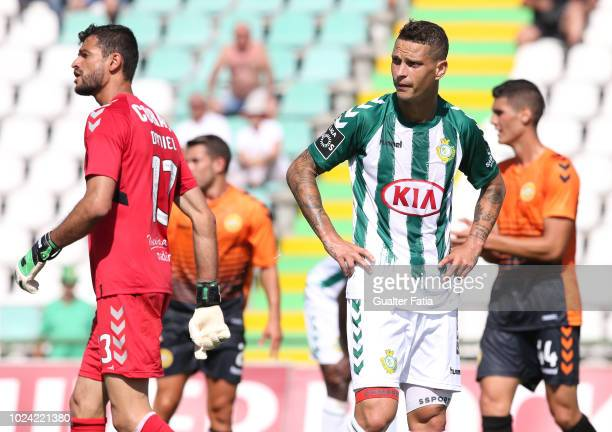 Zequinha of Vitoria FC reaction after missing a goal opportunity during the Liga NOS match between Vitoria FC and CD Nacional at Estadio do Bonfim on...