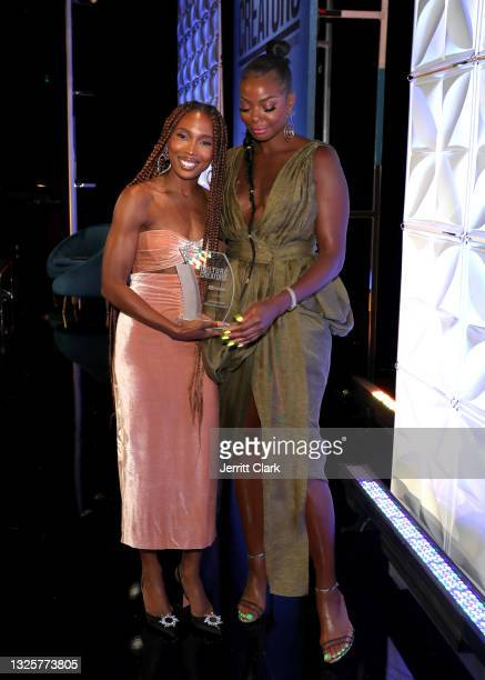 Zerina Akers and Tai Beauchamp attend the Culture Creators Innovators & Leaders Awards at The Beverly Hilton on June 26, 2021 in Beverly Hills,...