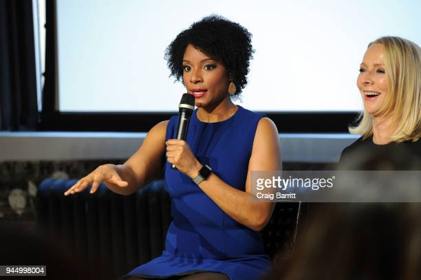Zerlina Maxwell and Linda Wells attend The Cut's How I Get It Done event at Neuehouse on April 11 2018 in New York City