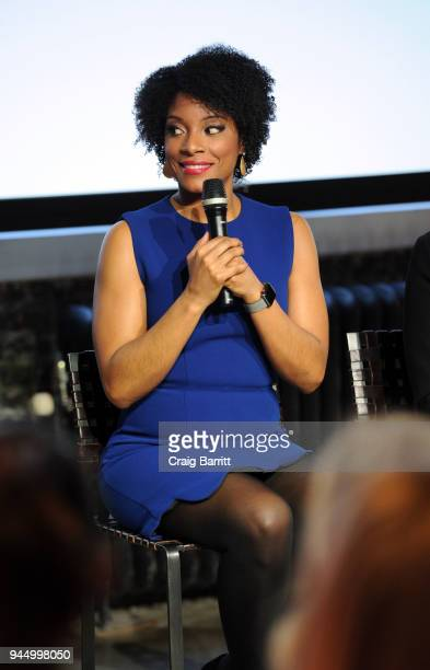 Zerlina Maxwell attends The Cut's How I Get It Done event at Neuehouse on April 11 2018 in New York City