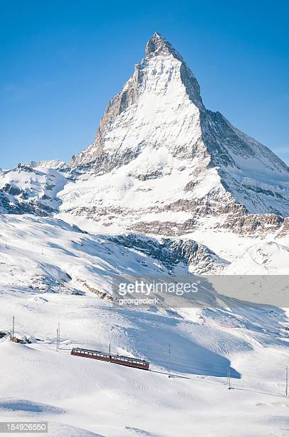 Zermatt Mountain Train and Snow Covered Matterhorn