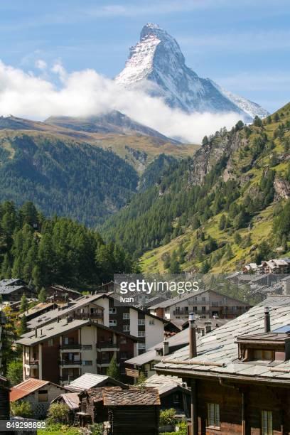 Zermatt Valley and Matterhorn peak, Switzerland