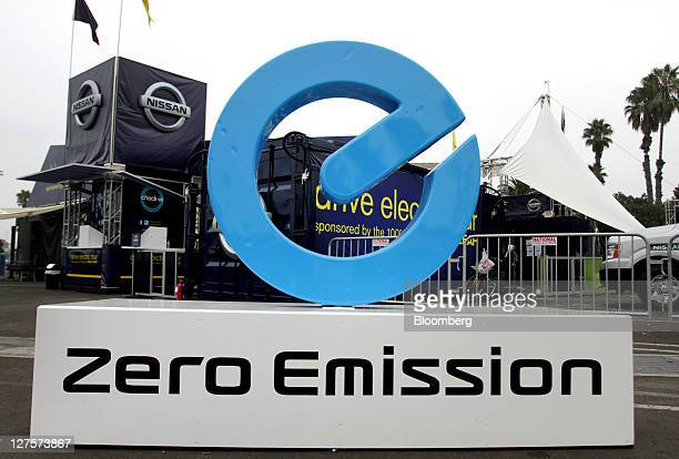 Zero Emission signage is displayed outside of the Nissan Motor Co Ltd test drive area during preview day at the Alternative Transportation Expo and...