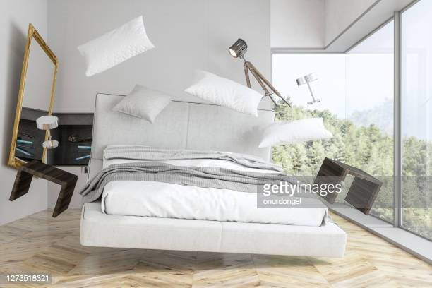 zero gravity bedroom with forest view - pillow stock pictures, royalty-free photos & images