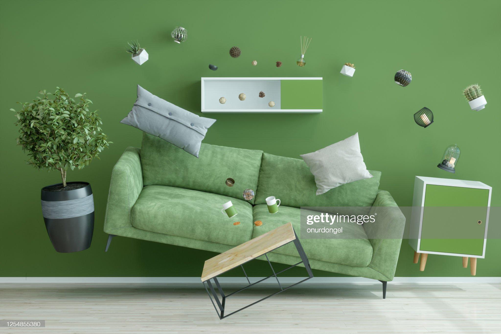 零重力綠色客廳 : 圖庫照片