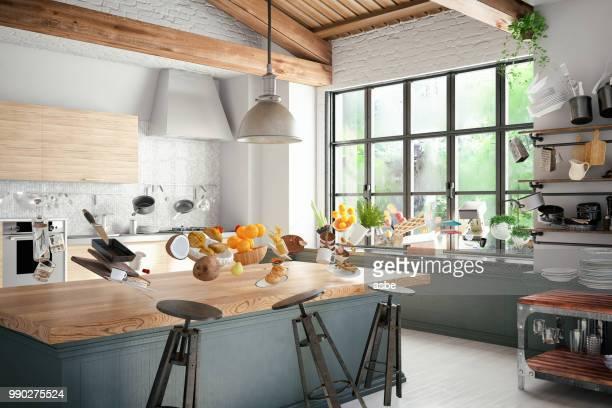 キッチンで無重力。浮上 - コース料理 ストックフォトと画像