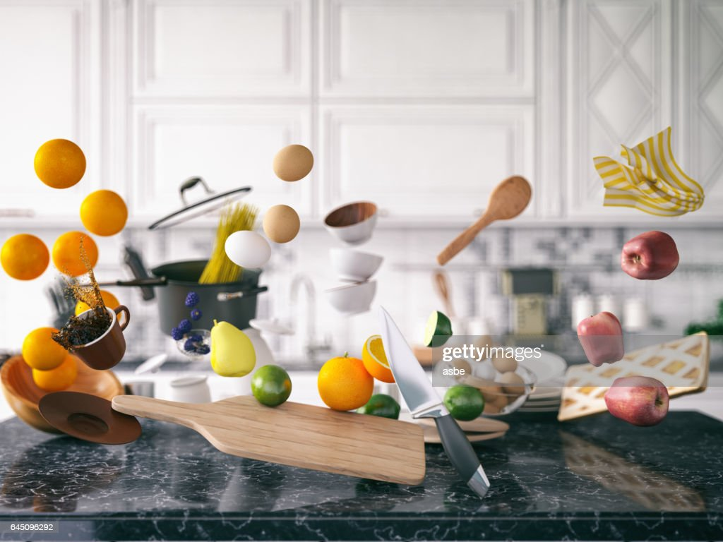 Zero Gravity in Kitchen : Stock Photo