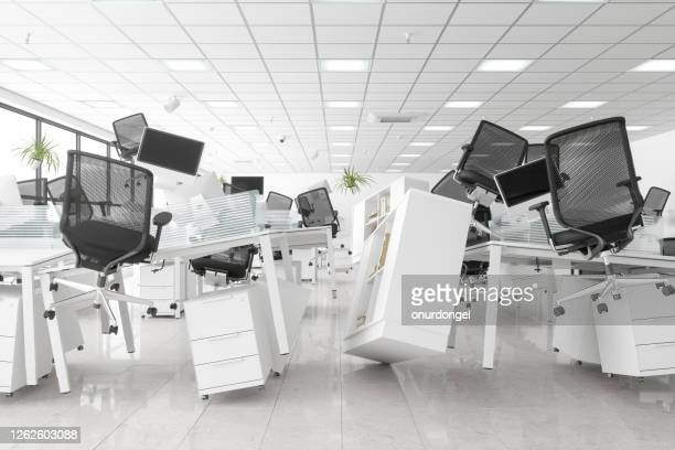 zero gravity open space office - chaos stock pictures, royalty-free photos & images