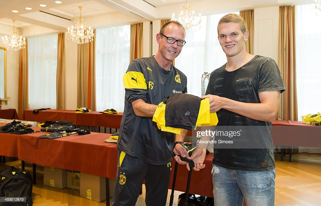 Zeugwart Frank Graefen of Borussia Dortmund poses with Matthias Ginter of Borussia Dortmund on August 1, 2014 in Bad Ragaz, Switzerland.
