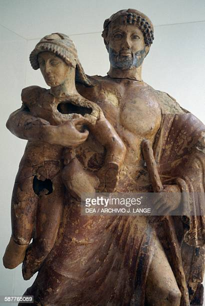 Zeus and Ganymede 480470 BC terracotta statue Greece Greek civilisation 5th century BC Detail Olympia Museum