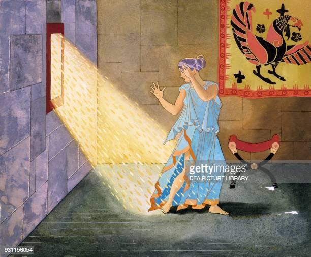 Zeus in the form of golden rain fertilize Danae Greek mythology drawing by Giacinto Gaudenzi