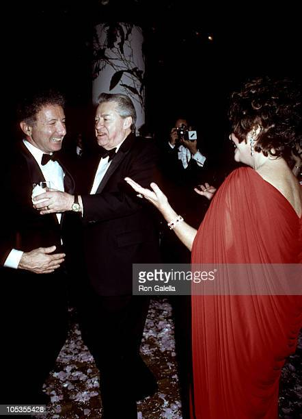 """Zev Bufman, Alexander Cohen and Elizabeth Taylor during """"Night of 100 Stars"""" Actors Fund Benefit - Afterparty at New York Hilton Hotel in New York..."""
