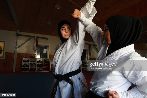 Zeynab Alshelh Medical Science student and 2017 Australian National Karate Champion during a sparring session with Ifdal Noureddine at Bankstown on...