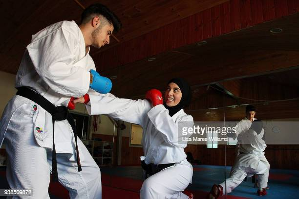 Zeynab Alshelh Medical Science student and 2017 Australian National Karate Champion during a sparring session with her brother Ahmad Alshelh at...