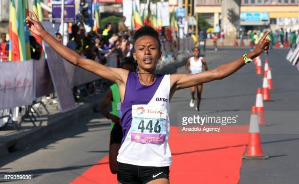 Zeyneba Yemer finishes first in the Great Ethiopian Run at Adwa Square in Addis Ababa Ethiopia on November 26 2017 Total of 44000 professional and...